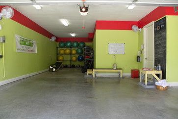 This homeowner turned her home's three-car garage into a personal training studio where she hosts private clients. Bright walls, a few well-placed fans and racks of colorful gym equipment transformed the room into an energetic and inviting space. The same garage door allows for air circulation and natural light; concrete floors make for easy cleanup.  Do you use your garage as a gym? How did you organize your space? How do you keep it comfortable, clean and motivating?