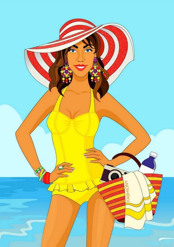 fashion illustration, summer, girl