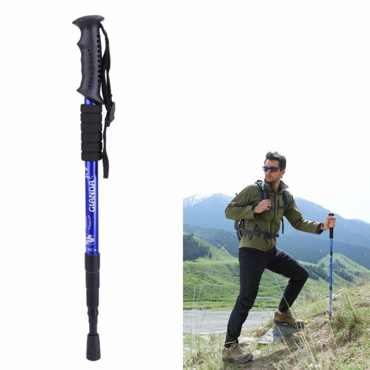 Aleación de aluminio Bastón de Senderismo Caminar Sendero de Trekking Polos Ultraligero 4-section Senderismo Ajustable Palo FE5 #