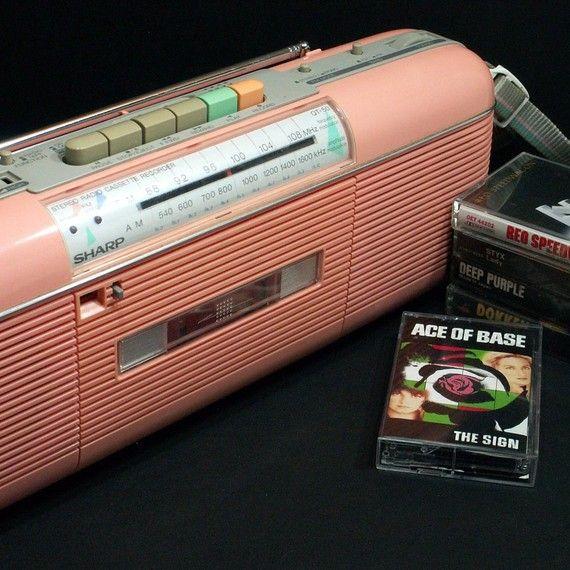 Retro 80's Sharp Boombox Cassette Radio sheenatatum. I HAD THIS!!!
