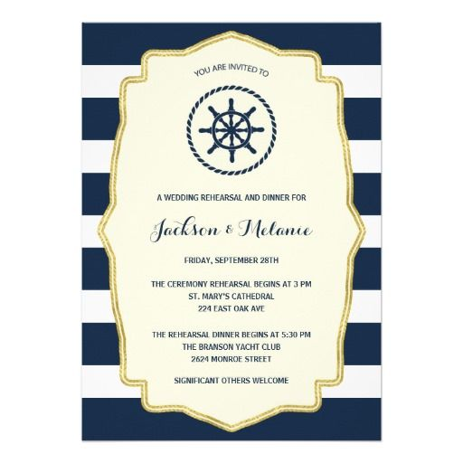 Navy Blue Stripes | Nautical Rehearsal Dinner