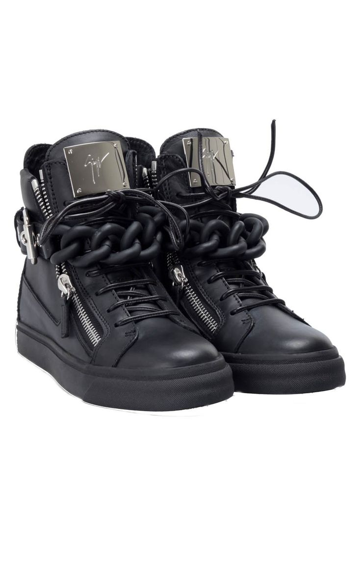 #GiuseppeZanotti chain zipped leather #sneakers, available here -> http://www.bagheeraboutique.com/en-US/designer/giuseppe_zanotti