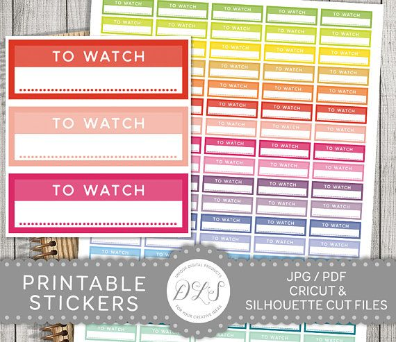 Watch TV Stickers, To Watch Planner Stickers, Television Planner Stickers, TV Planner Stickers, Printable Functional Stickers, FS108
