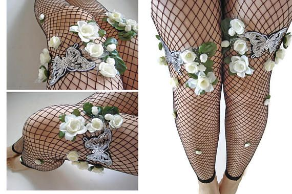 Floral Fishnet Tights, Fishnets for women, tights for women, Sexy Fishnet Clothing, Costume Elf Tights, Butterfly Leggings, Women fashion