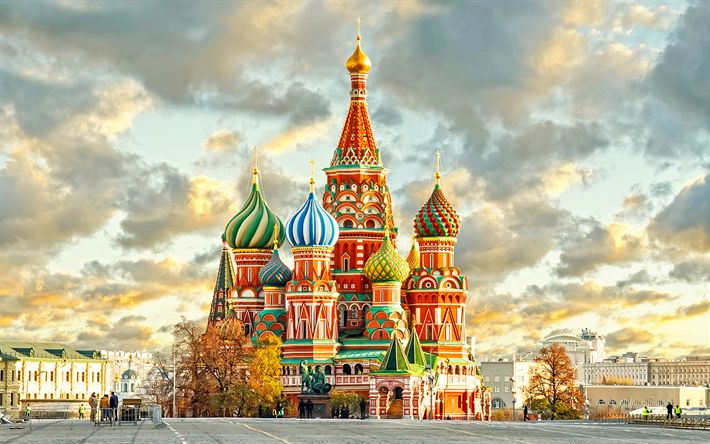 Download wallpapers Saint Basils Cathedral, 4k, russian landmarks, Russia, Moscow