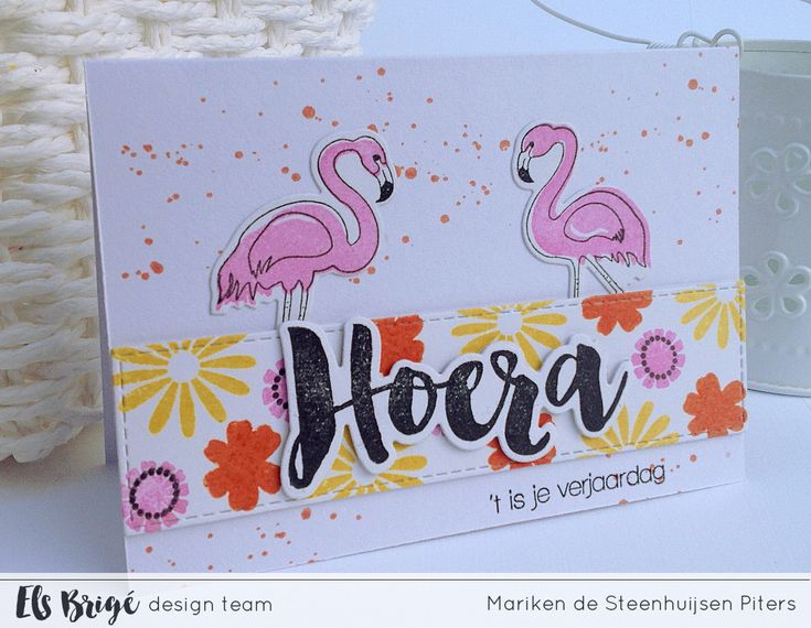 Zomerse flamingo verjaardagskaart door Mariken de Steenhuijsen Piters voor Els Brigé design