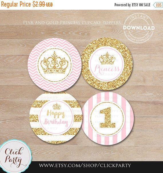 50% OFF SALE Pink and Gold Princess Cupcake toppers, Gold Glittler Cake, 1st birthday, first, Party Circles, Party Decorations,Printable Ins di ClickParty su Etsy https://www.etsy.com/it/listing/271606973/50-off-sale-pink-and-gold-princess