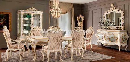 Model 1 Set Ruang Makan, 1 Set Ruang Makan Model Classic, Meja Dan Kursi Makan Ukiran Mewah