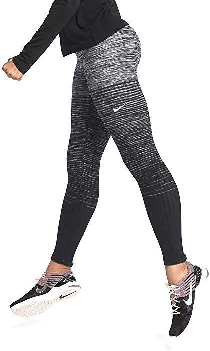 7e26620325d0a NIKE Women's Pro Hyperwarm Fleece Printed Athletic Tights Leggings (Medium,  Dark Grey/Black) at Amazon Women's Clothing store: