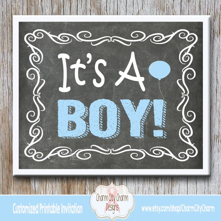 It's A Boy Chalkboard Sign, It's A Boy Gender Reveal Chalkboard, Gender Reveal Photo Prop, INSTANT DOWNLOAD by charmcitycharm on Etsy