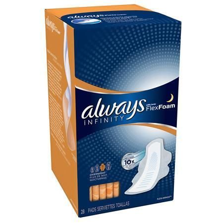 Always Infinity Overnight Pads with Wings - 28 ea