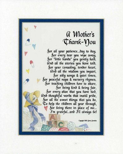 A Gift For A Daycare Provider Or Pre-school Teacher. Touching 8x10 Poem, Double-matted in White Over Blue And Enhanced With Watercolor Graphics. by Poems For Occupations, http://www.amazon.com/dp/B000WB0SMC/ref=cm_sw_r_pi_dp_UbLVrb0B0MXVB/180-2209484-4427604
