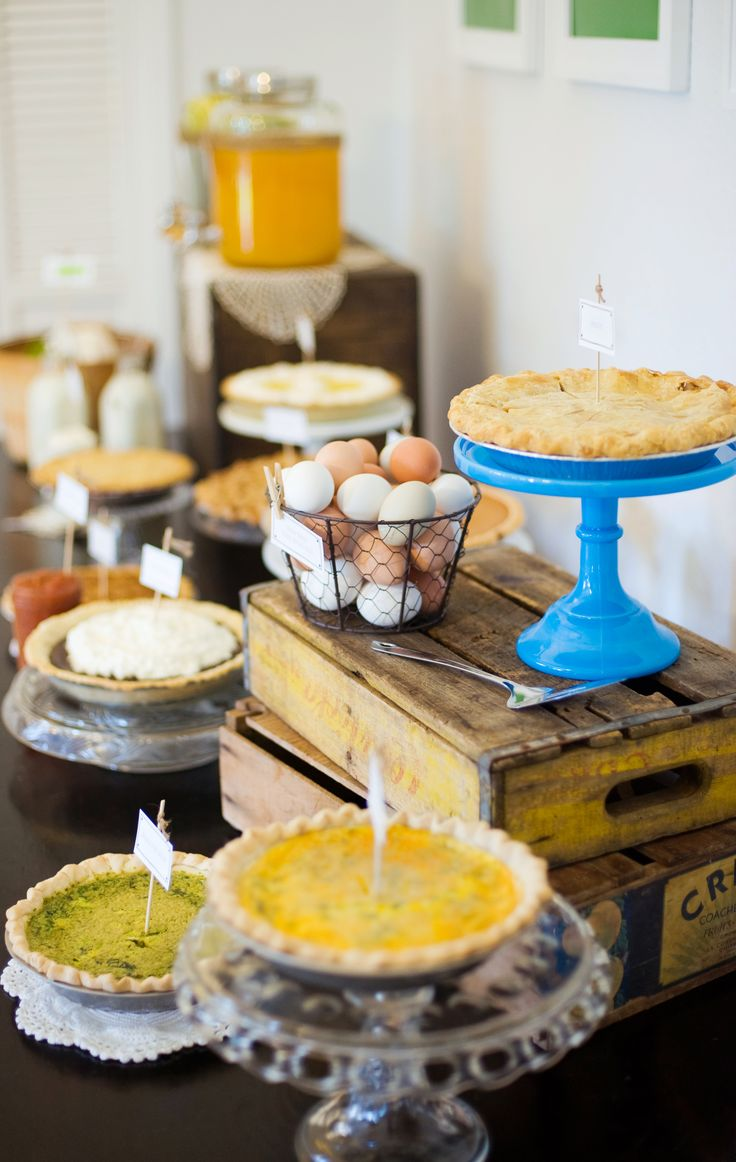Farm Boy Baby Shower Pie Table #babyshower #pietable #farmboy