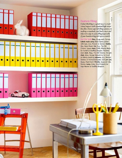 An organised colourful home office.  Image from Living Etc.
