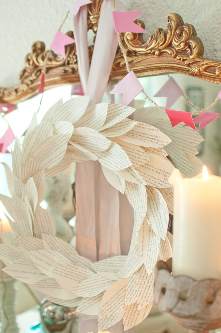 Book Page Wreath Tutorial via Domestic Fashionista: Wreaths Tutorials, Crafts Ideas, Crafts Weekend, Books Pages Wreaths, Domestic Fashionista, Book Page Wreath, Book Pages, Crafty Diy, Books Them Baby