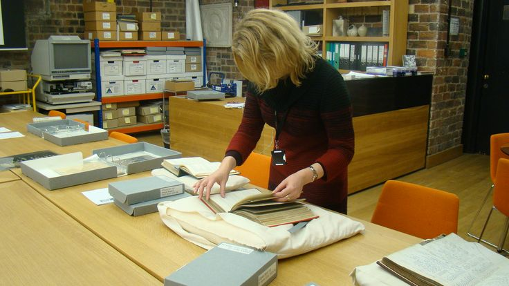 Alison Brown researching Georgina Goldie Killin in the Glasgow School of Art Archives and Collections Centre