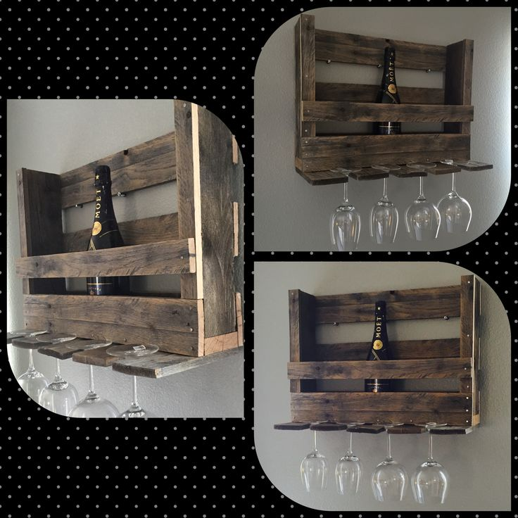 Brand new wine rack.  Took about 1.5 hours.  Half a pallet left over from a previous project.  Holds 4 glasses (red, white, or champagne) and 4-5 bottles.
