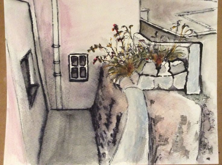 Ink and wash study of scene at Gardenstown