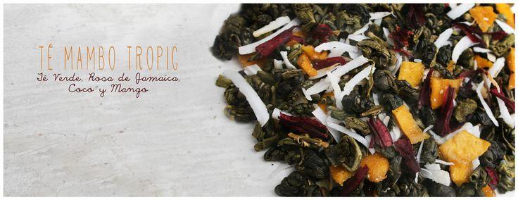 >>>TÉ MAMBO TROPIC<<<  Té Verde, Rosa de Jamaica, Mango y Coco.  Este blend lo creé pensando en el verano que añoro tanto y en los paisajes tropicales.   Propiedades Adelgazante (Rosa de Jamaica) y Antioxidante (Té verde).