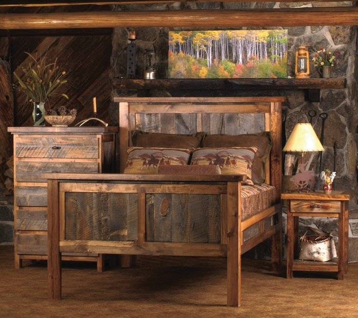 Wyoming Reclaimed Barnwood Bedroom January Special Package   JHEu0027s Log  Furniture Place