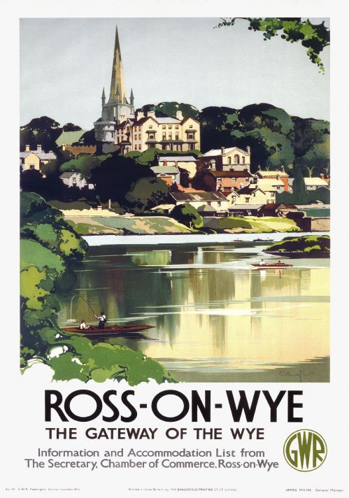 Ross On Wye Herefordshire Vintage GWR Travel poster by Claude Buckle 1938