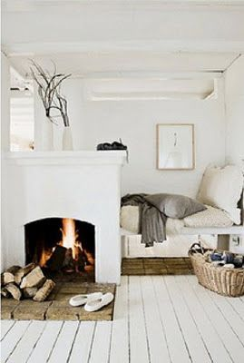 cozy bedroom and fireplace