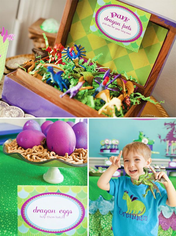 Dragon Birthday Party Ideas - Find more Dragon and Knight party ideas at http://www.birthdayinabox.com/party-ideas/guides.asp?bgs=140