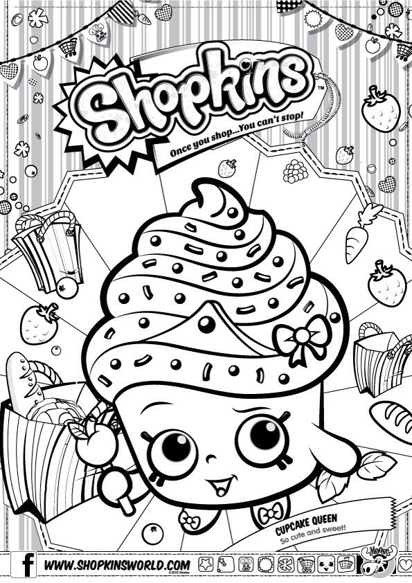 Shopkins Colour Color Page Cupcake Queen ShopkinsWorld