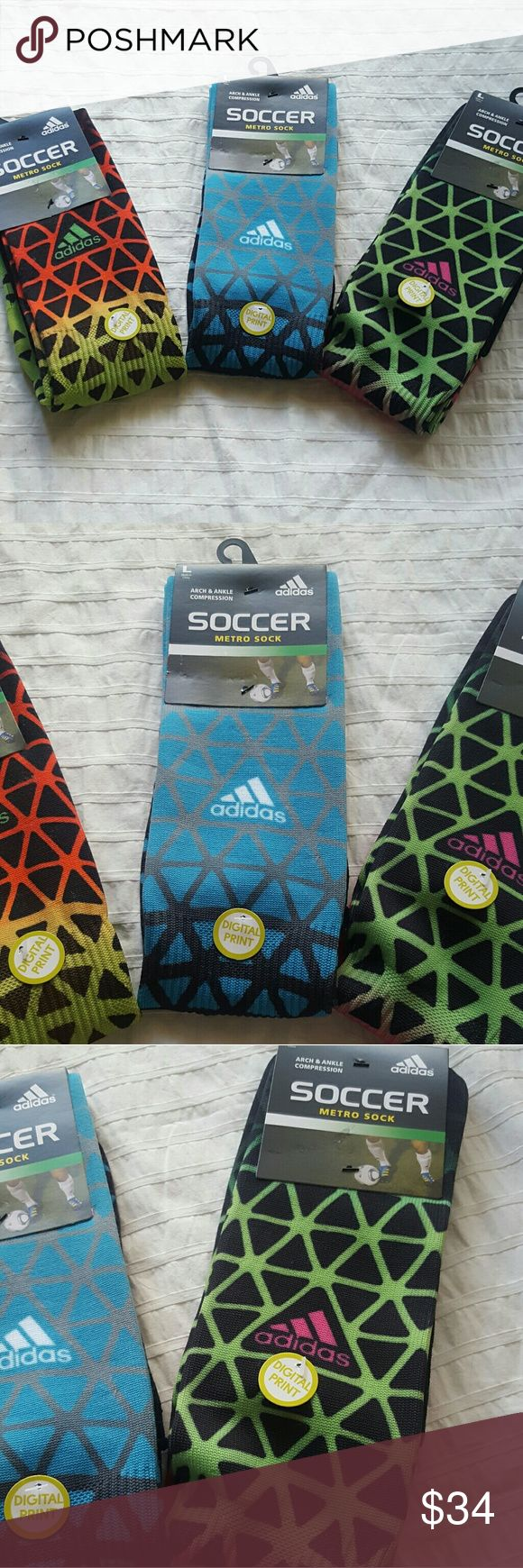 Adidas Soccer Sock Bundle of 3 - L Bundle of 3 NWT Adidas Soccer Socks.  All socks in the bundle ate size Large.   Features arch and ankle compression for added stability and a fun pattern.   #adidas #soccersocks #soccer #socks Adidas Underwear & Socks Athletic Socks