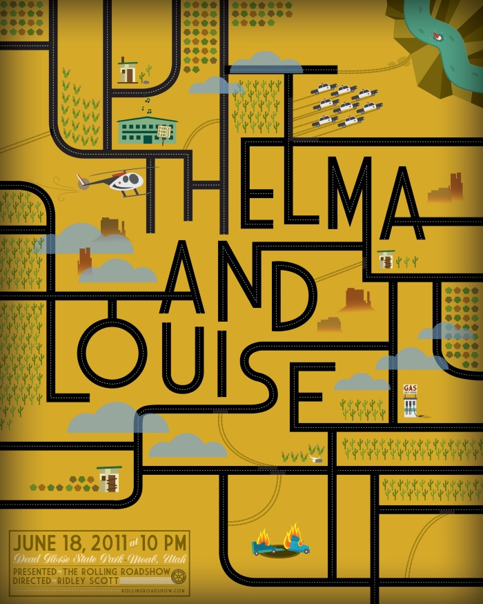 Beautiful illustration—the roads converge into the shapes of the letters. #typography #yellow #illustration: Kelly Thorne, Movie Posters, Rolls Roads, Picture-Black Posters, Posters Design, Graphics Design, Louise Posters, Film Posters Typography, Thelma Louise