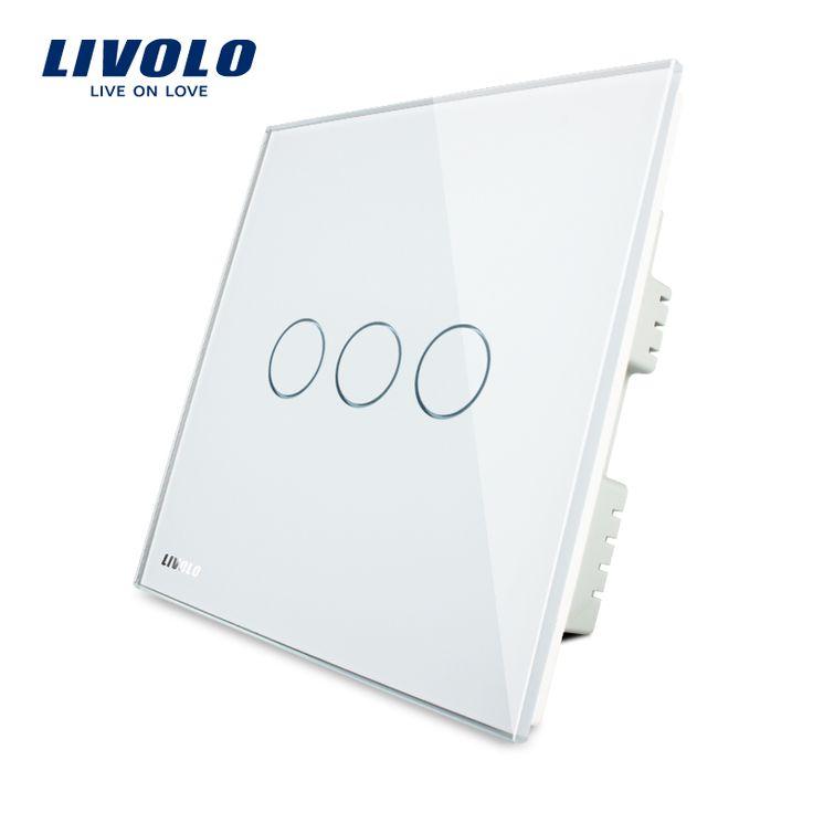 Livolo avorio bianco pannello di cristallo, Interruttore di tocco, UK standad, Digital Light Touch Switch/Interruttore Chiaro Della Parete di Tocco VL-C303-61