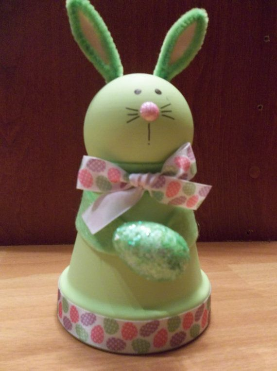 Clay Pot Green Easter Bunny by RaysClayPotCreations on Etsy, $8.50