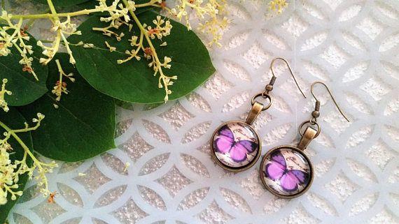 Purple butterfly charm earrings  butterfly jewelry  glass