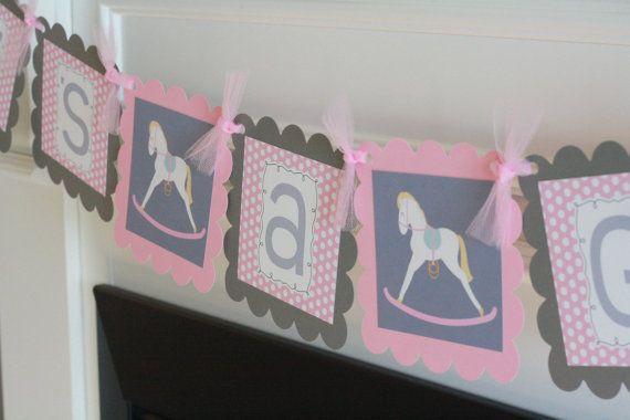 "Pink Grey Polka Dot Rocking Horse Horsey Baby Shower ""Its a Girl"" Banner"