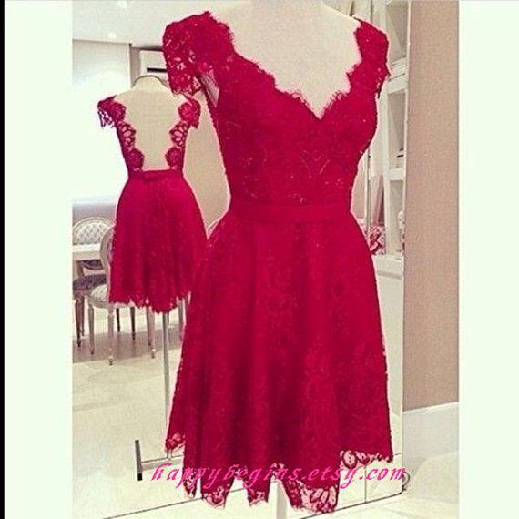 Short red dress  red lace v neck short backless by HappyBegins, $99.00