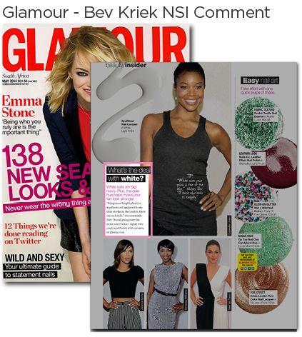 NSI Educator, Beverly Kriek's NSI comment in Glamour Magazine.