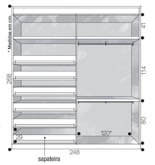 Medidas para closet com compartimento para cabides de camisas e calças e sapa -> Armario De Banheiro Vinho