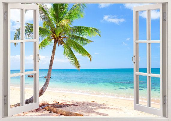 Colorful 3D window wall sticker -beautiful beach with coconut palm window view…