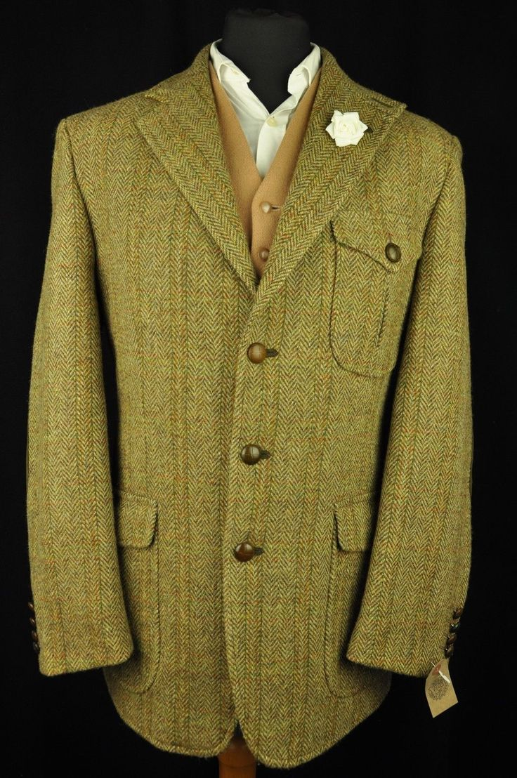 Superb Harris Tweed jacket in a green brown cloth with brown herringbone and a red, yellow and green check. The jacket has a 3 button front, double vent rear and is fully lined. Suede elbows, hunter pockets and shoulder vents. | eBay!