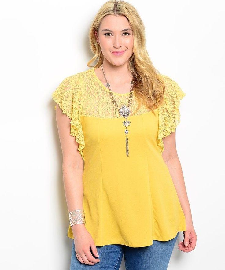 Women Top Plus Size 3X Mustard Yellow Lace Batwing Sleeves Scoop Neck Lace Yoke #Roman #Blouse #Casual
