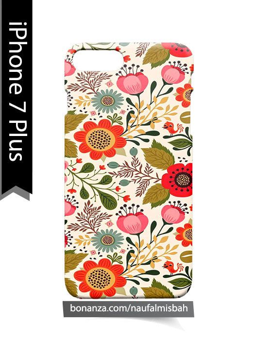 Vintage Flower Floral Pink Red Bird Nature iPhone 7 PLUS Case Cover Wrap Around