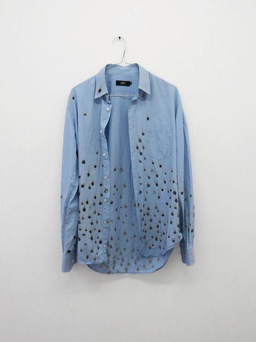 Jérémie Egry and Aurélien Arbet - New Man, 2012    Man shirt and 365 cigarette holes, Size : Large