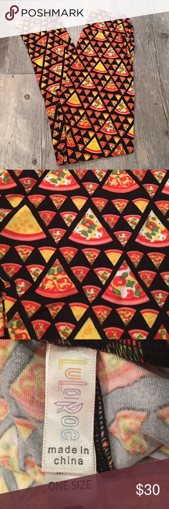 LuLaRoe pizza leggings NWOT OS These are ultra stretchy and super soft. They're as close to your own skin as you can get with all the perks of, ahem, not being naked. ***Please note that lularoe leggings are rumored to run small in some patterns I have not tried these on. They look normal to me.  LuLaRoe Pants Leggings
