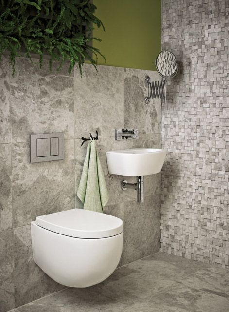 Maida vale basin and wall hung toilet in matt white with for Small downstairs bathroom ideas