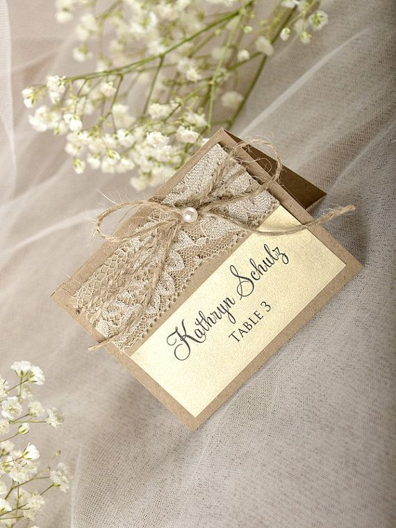 Rustic Place Cards 20 Lace Place cards Wedding by forlovepolkadots
