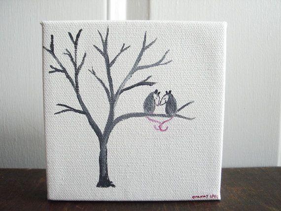 Valentine Possum Love Possums 4 x 4 Original by PossumTree
