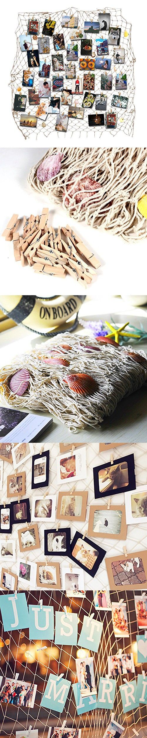 HAYATA Home Decoration Nautical Decorative Fishing Net Multi Picture Frames Collage Photo Hanging Display Wall Decor Party Decoration