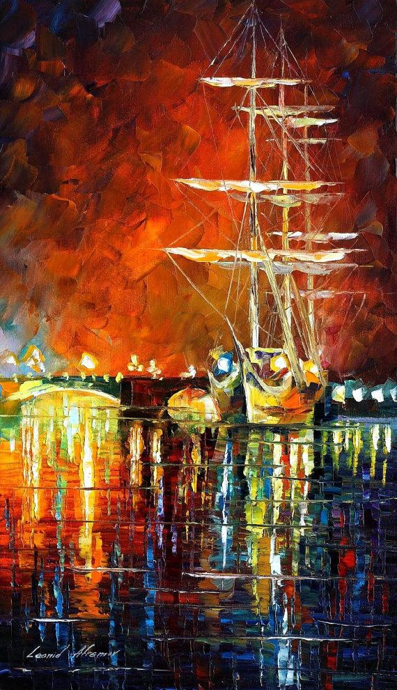 Burning Sky — PALETTE KNIFE Oil Painting On Canvas By Leonid Afremov