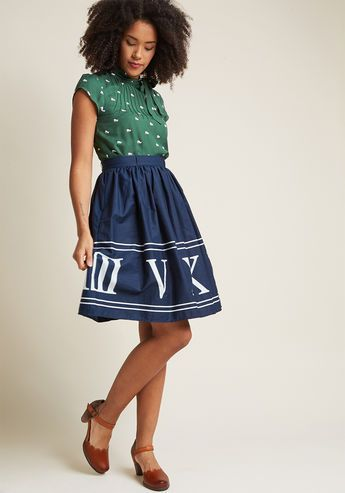 Charming Cotton Skirt with Pockets in Navy Numerals - Whoever believes staple pieces should only be solid needs to meet the sweet versatility of this navy blue skirt! A cotton offering from our ModCloth namesake label, this A-line makes it a pleasure to pair its hidden pockets and white Roman numeral print with your pieces both new and cherished.