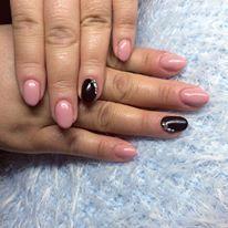 pink and black gel nel with rhinestone